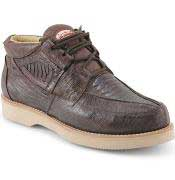 Los Altos Genuine Ostrich Leg Four Eyelet Lacing Brown Shoes