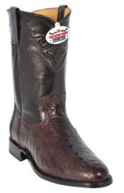 Altos Mens Genuine Brown Ostrich Leg Western Cowboy Riding Style Boot