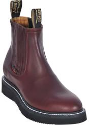 Mens Work BOOTS Burgundy ~ Maroon ~ Wine Color Round Toe