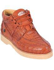 COGNAC Full Caiman Crocodile Casual Los Altos Shoes Lace Up EE