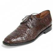 Los Altos Genuine Caiman Belly Five Eyelet Laces Brown Shoes