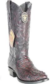Mens Los Altos Boots Genuine Caiman Hornback Cherry Boots