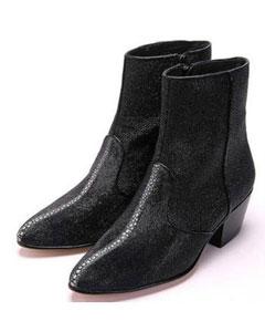 Mens Los Altos Genuine Stingray mantarraya skin Inside Zipper Black Boot Ankle Dress Style For Man