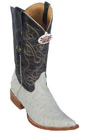 Full Quill Ostrich Print Los Altos Cream ~ Ivory ~ Off White Mens WESTERN Cowboy Boots 3X