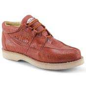 Los Altos Genuine Ostrich Leg Exotic Cognac Authentic Genuine Skin Italian Tennis Sneaker Shoes