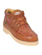 COGNAC Caiman Crocodile Ostrich Casual Los Altos Shoes Lace Up