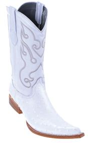 Quill Ostrich Print Los Altos White Mens WESTERN Cowboy Boot ~ botines para hombre 3x Toe