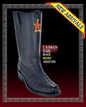 Caiman Tail Biker Boots Brown & Black by Los Altos Boots Black