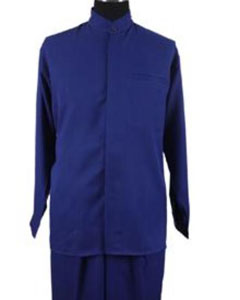 Round Style Collarless Shirt Set /Casual Royal Blue Two Piece Mandarin/ Banded