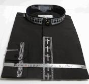 Banded Dress collarless Shirt with Cross Embroidery Trim CollarPreacher Round Style  And Covered Buttons And Convertible