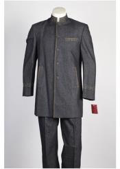 5 Button Mandarin Collar Suit Black