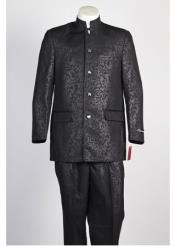 5 Button Mandarin Paisley Banded Collar Suit Black Blazer Looking