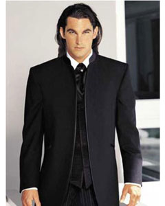 Asian Look Designer No Button Black Mirage Mandarin Tuxedo With Flat Front  Pants
