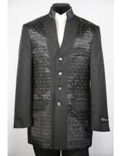 Mandarin Collar 4 Button 2piece Diamond Pattern Black Zoot Suit