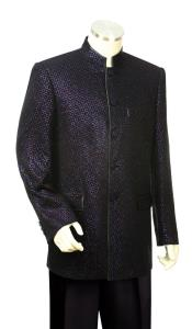 Mandarin Collar Astral Shape Zoot Suit Black