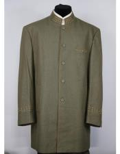 Mandarin Collar 5 Button 2piece Dark Green Zoot Suit