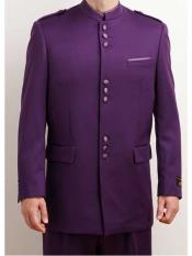 Mandarin Collar 2 Piece Purple Single Breasted Nehru Style Long Suit