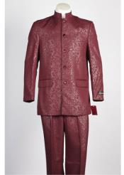 Mens Mandarin Paisley Banded Collar 5 Button Suit Wine Blazer Looking
