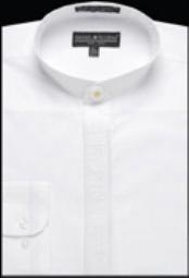 Mens Collarless Embroidered Mandarin Banded Collar Preacher Round Style white Mens Dress
