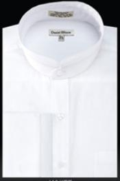 Cuff Banded Collar dress shirts Mandarin Collarless Preacher Round Style White