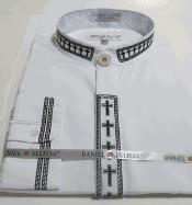 White&Black Embroidery Preacher Round Trim Collar Mens Mandarin Banded Collarless Dress Shirt
