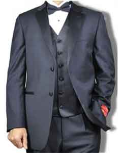Mens Mantoni Vested 2 Button Tuxedo Black - High End Suits -
