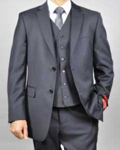 Mantoni Brand Mens Black Vested Wool Suit