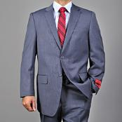 Mantoni Brand Mens patterned Blue 2-button Wool Suit