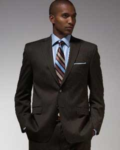 Mantoni Brand Brown Stripe ~ Pinstripe Suit  - High End