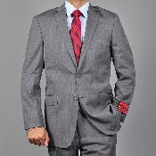 Mantoni Brand Mens Slim-fit patterned Grey Wool 2-button Suit