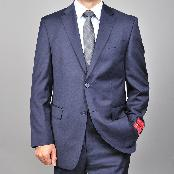 Mantoni Brand Mens Solid Navy Blue 2-button Wool Suit