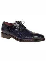 Brand Marini Style Blue Genuine World Best Alligator ~ Gator Skin Oxford Shoes
