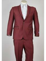 Mens Maroon 1 Button Black Trim Shawl Lapel Slim Fit Suit
