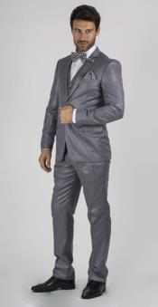 Grey 2 Button Sharkskin