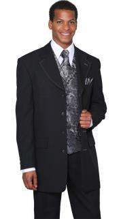 Mens Black Silver Fancy Vest 3 Piece Fashion Suits: discount mens clothes for sale