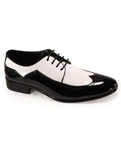 Mens Lace up Wingtip Tuxedo Shoes Black/Mens White Dress shoe