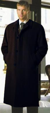 Dress Coat Alberto Narodni Luxurious High-Quality Wool Blend Notch Lapel Solid Black Topcoats ~ Overcoat Hidden Buttons