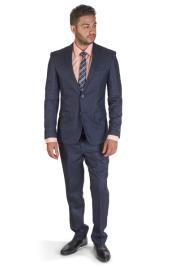 Navy Plaid 2 Button Notch Lapel Suit Slim Fit Flat Front