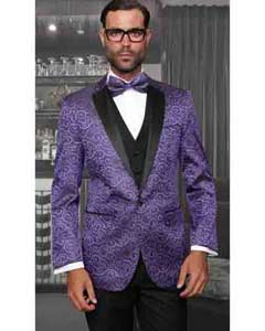 Purple 3 Piece Mens Statement Suits Clothing Confidence Tuxedo Vegas Modern Fit
