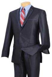 Slim Fit Suits Fitted Style Shiny Blue Trimmed