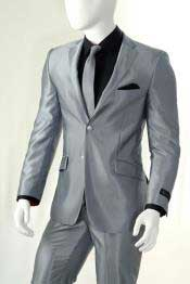 Mens Shiny Silver Gray ~ Grey Light Flashy Slim Look Cheap Priced