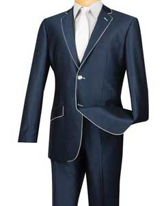 Slim Fit Blue White Trim Suits