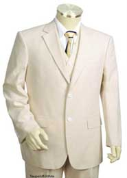 Seersucker Suit Mens 3pc 100% Cotton Seersucker Sear sucker Suits Taupe
