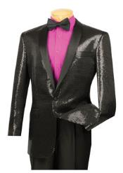 1 Button Black Shawl Collar Sequin Blazer Black