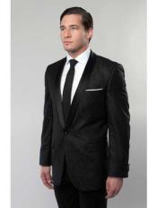Mens Floral Satin Shiny 1 Button Black Lapel Two Toned Blazer