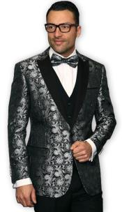 Mens Grey~Gray & Silver Looking Mix with Black Shiny ~ Shiny Paisley