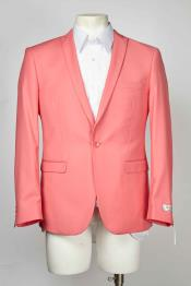 Mens Salmon Coral One Button Single Breasted Peak Lapel Blazer With Centre Vent Melon ~ Peachish Pinkish