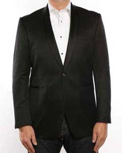 1 Button Shawl Collar Textured Tuxedo Slim Fit Blazer Black