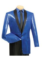 Mens 1 Button Blue Sequin Entertainer Royal Color Tuxedo Shawl Lapel Jacket
