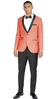 Mens 1 Button Coral Slim Fit Shawl Lapel Side Vents